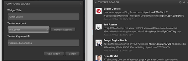 Twitter Mentions and Search widget